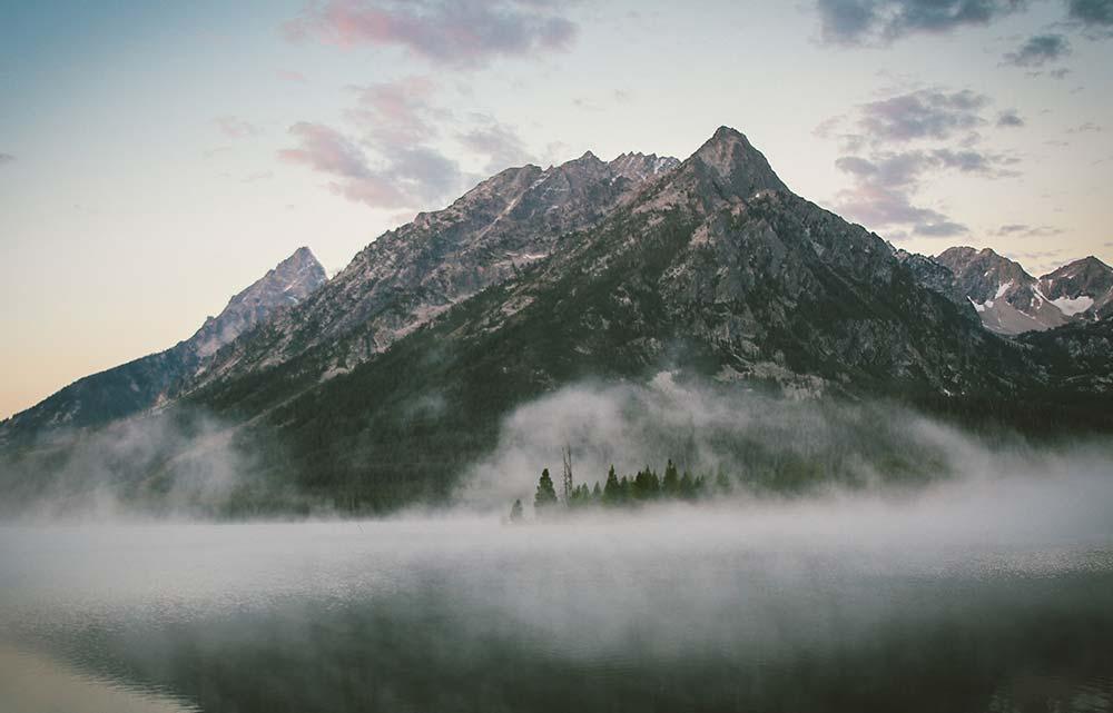 Medium depth of field.  Mountains.