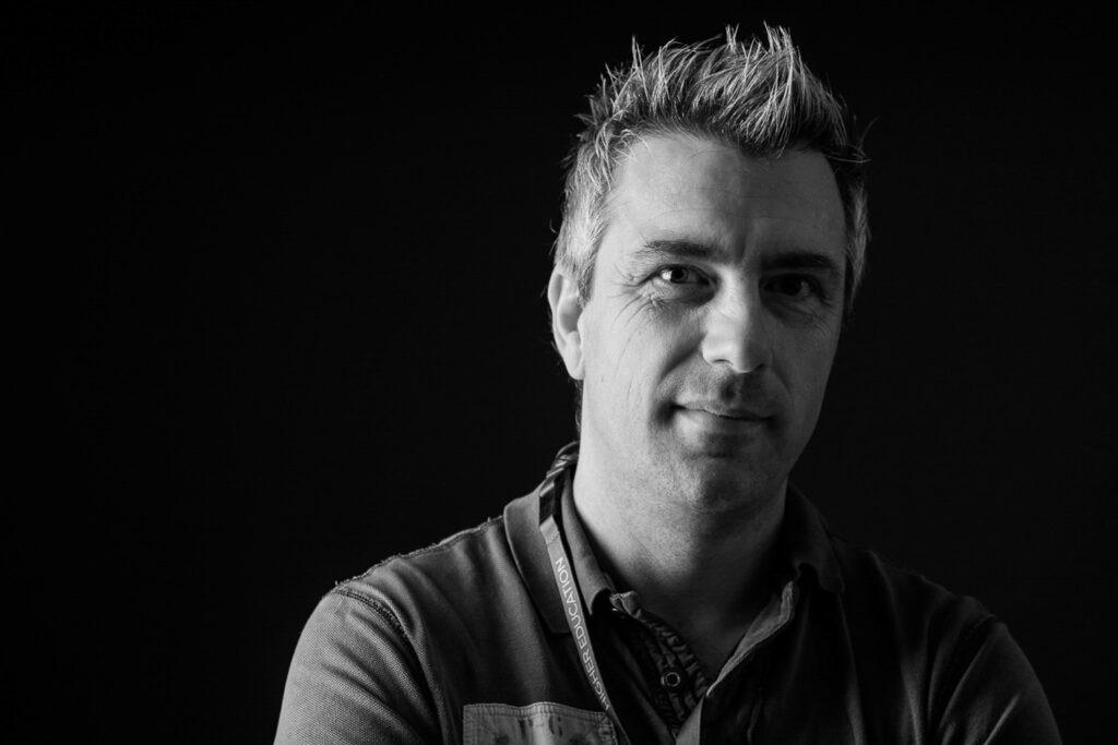 Male Headshot.  Black and White studio shot.