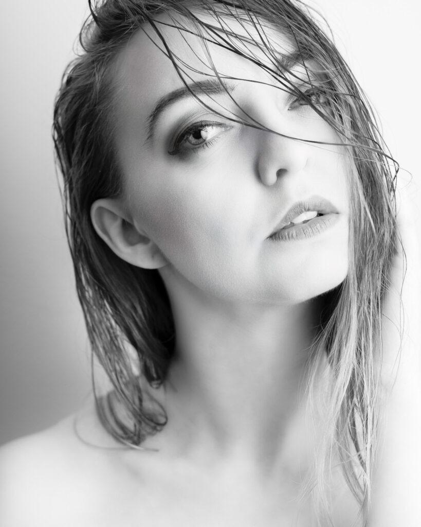 Creative black and white female portrait